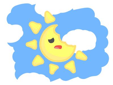 Who Ate The Sun? eat cute affinity hand drawn vector illustration sky sun