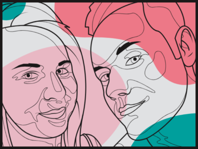 A portrait of the girlfriend and me colorful portrait illustration