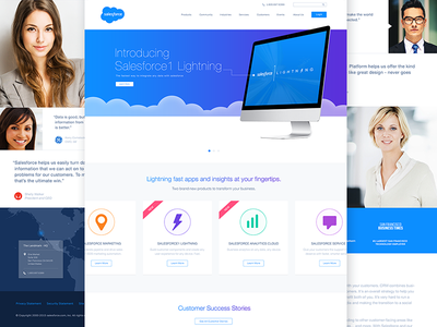Salesforce Homepage Redesign salesforce flat ui web redesign minimal map blue layout design clean products