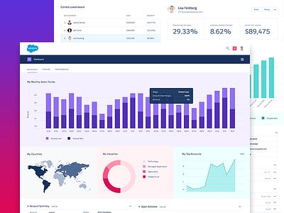 Salesforce UX Dashboard salesforce ux ui interface analytics graph product flat stats chart bars minimal