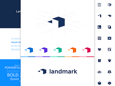 Landmark Logo blue l building grid logomark minimal vector process identity brand logo salesforce