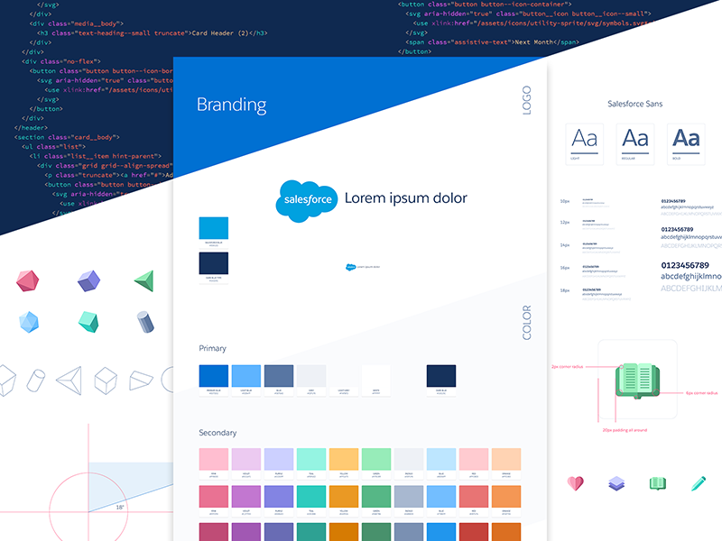 Branding WIP 3d interface shapes clean logo colors typography icons identity style guide branding salesforce