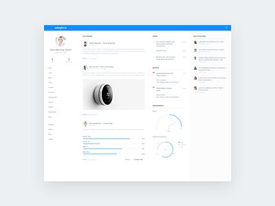 Desktop blue graphs flat clean desktop ui ux salesforce