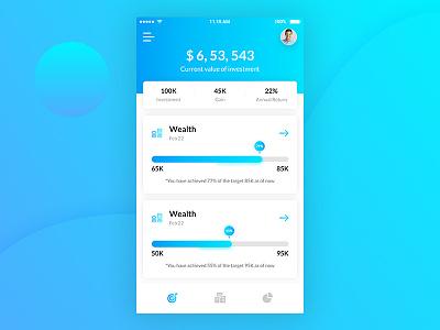 Investment App Dashboard ux designer ui designer analytics app design cryptocurrency bitcoin app dashboard payment wallet app ui