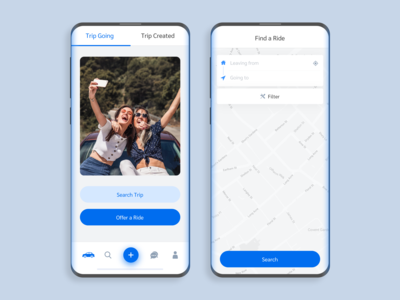 Home & Find a Ride Screen - Trip App