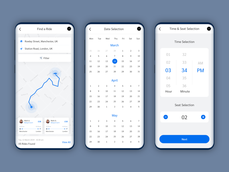 Search Result, Date, Time & Seat Selection Screens - Trip App app landing page design homepage design travel app booking app ride sharing app schedule app calendar app search app design ui designer ux designer