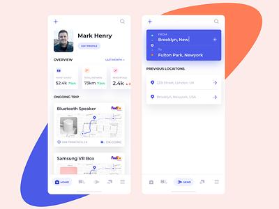 Courier App Concept tracking map ux design ui design courier parcel minimal ux designer ui designer app app design