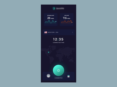 VPN App Interaction ux design ui design minimal log in home app design app ui ux design interaction design vpn app ios app micro interaction