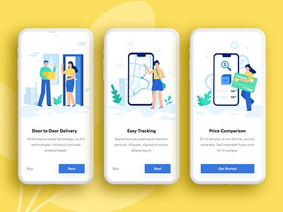 Courier App - Onboarding Screens ui ux designer ui ux design onboarding screen minimal ios app illustration delivery app courier app clean app designer app design app