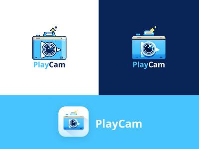 Playcam Logo camera startup ui play logo blue website camera logo camera icon camera app branding design flat vector logo