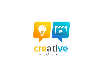 Creative logo talk community film branding website icon idea logo idea media creative logo design flat vector logo