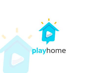 Playhome Logo talk app website blue home logo play logo brand identity branding simple flat logo