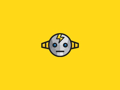 Electrobot Logo metal flat simple yellow thunder electric robot energy mascot low poly logo graphicriver