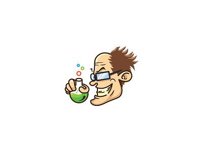 Crazy Professor Logo potion mascot simple smile crazy head vector genius idea professor logo graphicriver