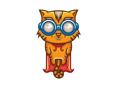Super Cat character cartoon illustration cute hero super cat vector mascot graphicriver