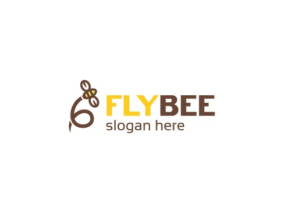 Fly Bee Logo nature flat simple yellow tree fly bee forest honey insect logo graphicriver