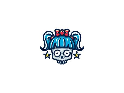 Skull Girl Logo halloween cute horror head vector mascot human esport girl logo skull graphicriver