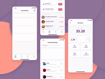 OnenessPay | 2.0 | Blockchain energy wallet | App design uiux pay platform usdt curve withdraw transaction wallet energy blockchain
