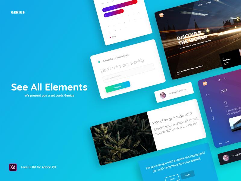 Genius: UI Kit + Free Sample themplate site web base forms navigation widgets kit ux ui free
