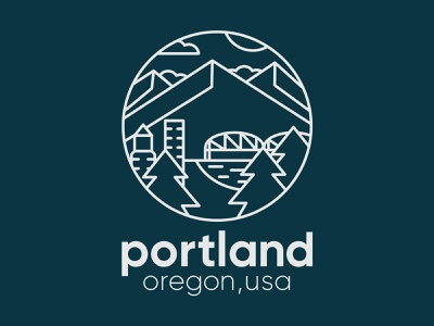 Portland Badge badge logo illustration vector icons design branding portland