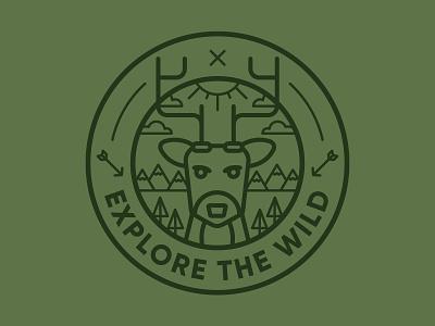 Explore The Wild Badge deer badge adventure logo illustration vector design