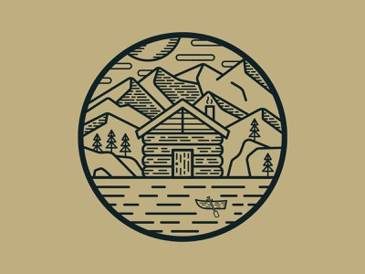 Cabin In The Woods - Badge Design cabin adventure badge logo illustration icons vector design