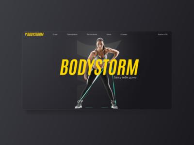 Bodystorm main page dynamic energy yellow sports branding sports design sport black logo branding landing page web ui design