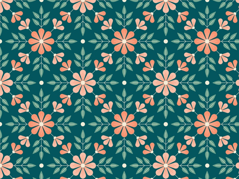 Navy & Coral Floral flowers floral graphic surface pattern graphics pattern illustrator print design illustration