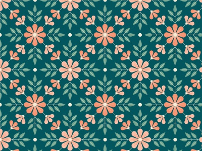 Navy & Coral Floral flowers floral graphic surface pattern graphics pattern illustrator print design illustration