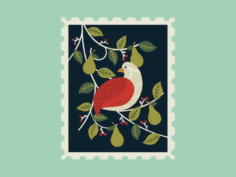 Partridge in a pear tree christmas stamp art leaves graphics illustrator pattern print design illustration
