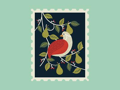 Partridge in a pear tree christmas stamp art leaves graphics illustrator pattern print design illustration