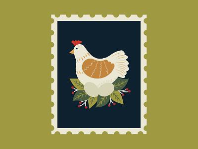 Three French Hens art leaves graphics surface pattern illustrator floral pattern print design illustration