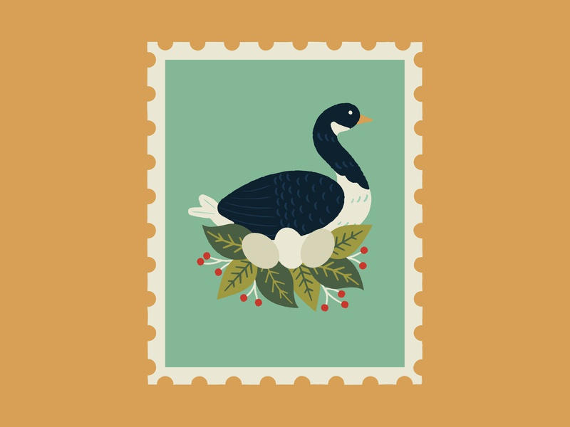 Six Geese a-laying graphic christmas leaves graphics illustrator pattern print design illustration