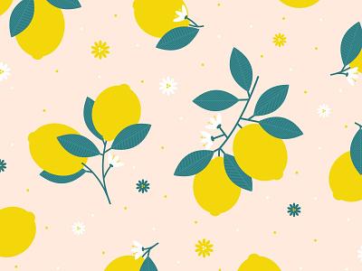 Lemon Print lemon vector fruit art flowers surface pattern leaves floral graphic graphics pattern illustrator print design illustration