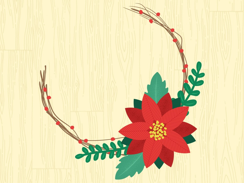 Poinsettia Flower leaves floral graphic surface pattern graphics pattern illustrator print design illustration