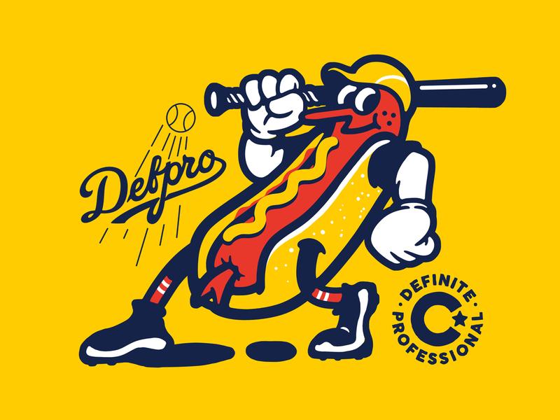 hotdog batter sports design sports logo milb mlb handlettering character cartoon branding logo font type design vintage old cartoon mascot