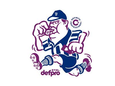 Penalized ground athlete soccer illustration vintage old cartoon handdraw logo mascot