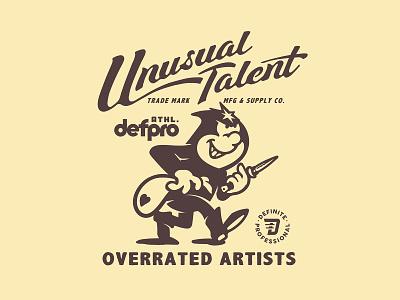 UNUSUAL TALENT robber artwork supply mfg artist branding font vintage old cartoon type mascot