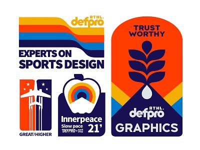 DEFPRO badges sportsdesign sign colorful sunshine vintage font vintage badge vintage logo old labels badges design font type old type vintage