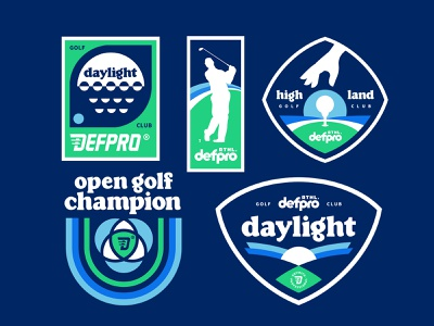 GOLF badges champion golf club type old type technology old fashioned 90s sports badges vintage mascot