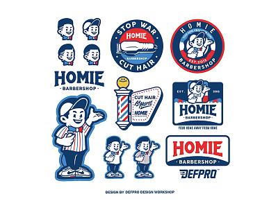 Homie Barbershop logo cute design illustation vintage swagger old cartoon font handdraw mascot