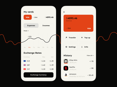 Banking app wallet transaction dashboad money spending balance currency card minimal analytics financial app fintech finance ux ui mobile banking bank analysis