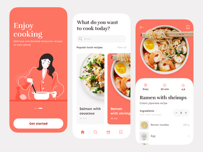 Cooking app cuisine foodie menu culinary clean cookbook kitchen chef ingredients food dashboard onboarding recipe vector design app ux ui mobile illustration