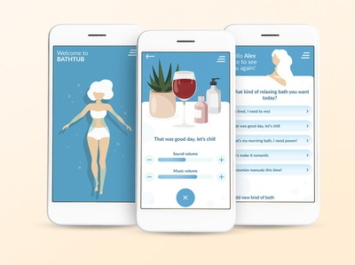 Relax app wireframe relax bath ui ux application prototype mobile app