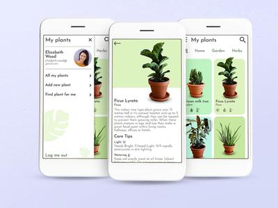 Plant app application wireframe prototype ui ux mobile app plant