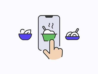 Food delivery illustrations icon design iconography branding ui illustration design