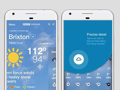 Weather app onboarding explorations