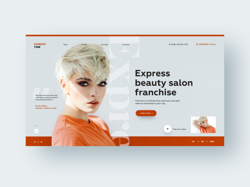 Haircut Time franchise beauty typography website design web ui