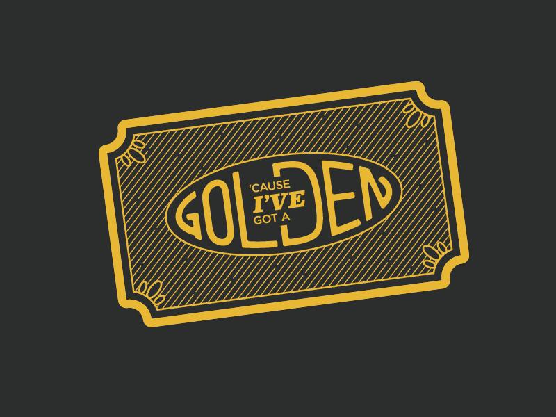Golden Ticket typography gold yellow wonka line art illustration