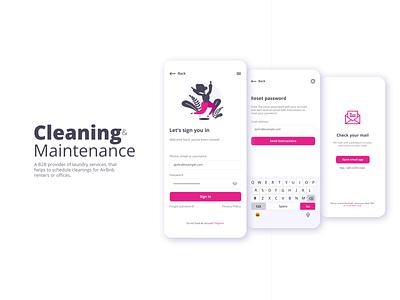 Cleaning & Maintenance App UI Design mobile design mobile app mobile ui uxdesign ui design user experience design user interface desing uiux ux ui